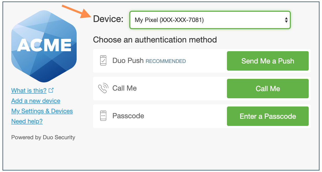Select Device in Authentication Prompt