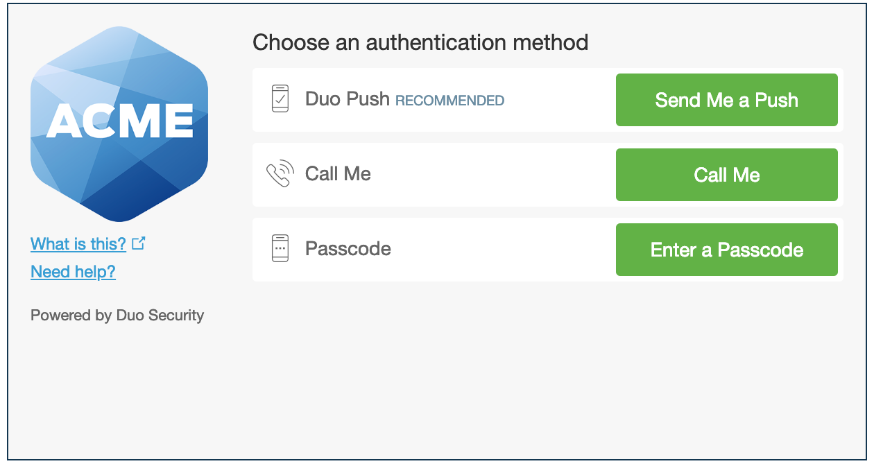 Duo Authentication Prompt