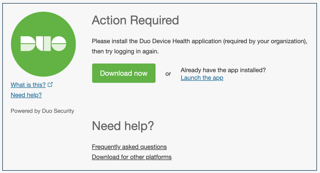 Download Device Health from Duo Prompt