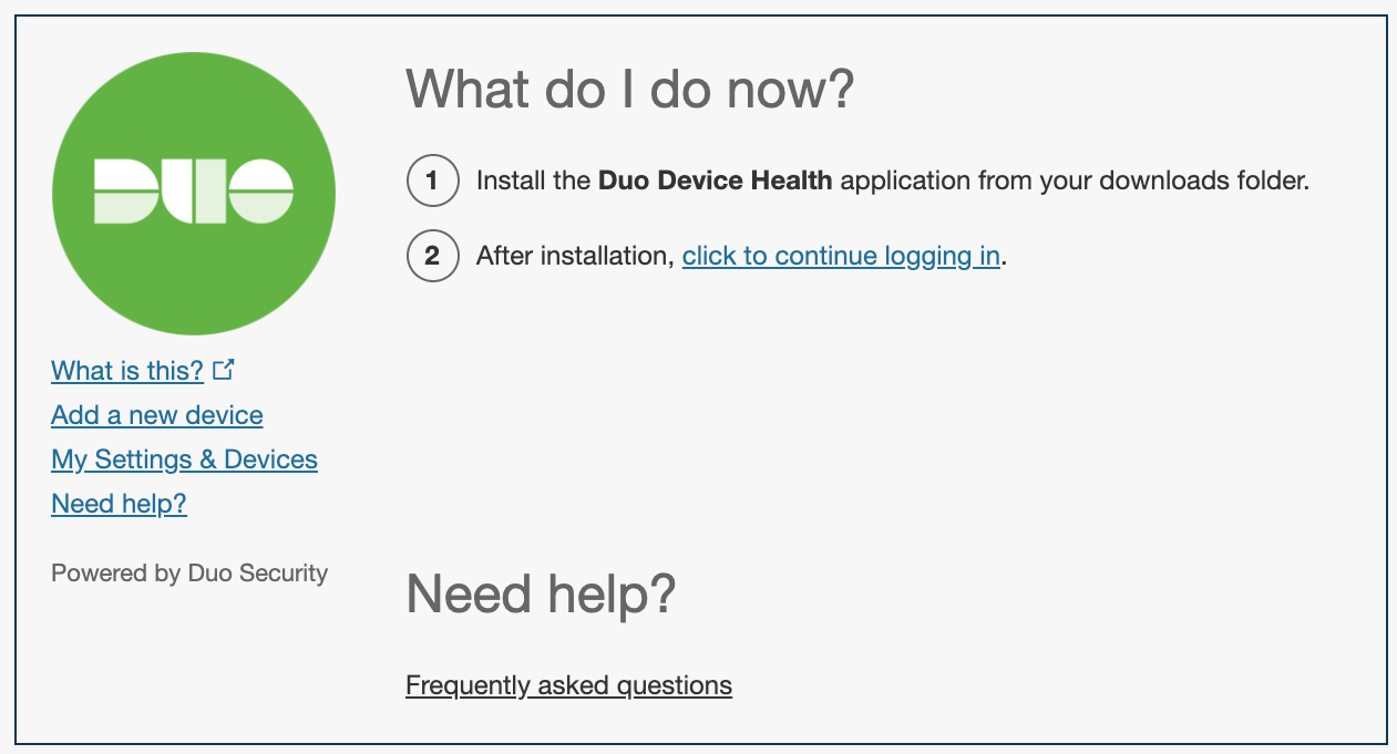 Continue login after Device Health Install