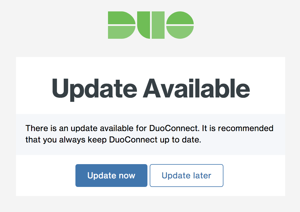 DuoConnect Optional Update Page