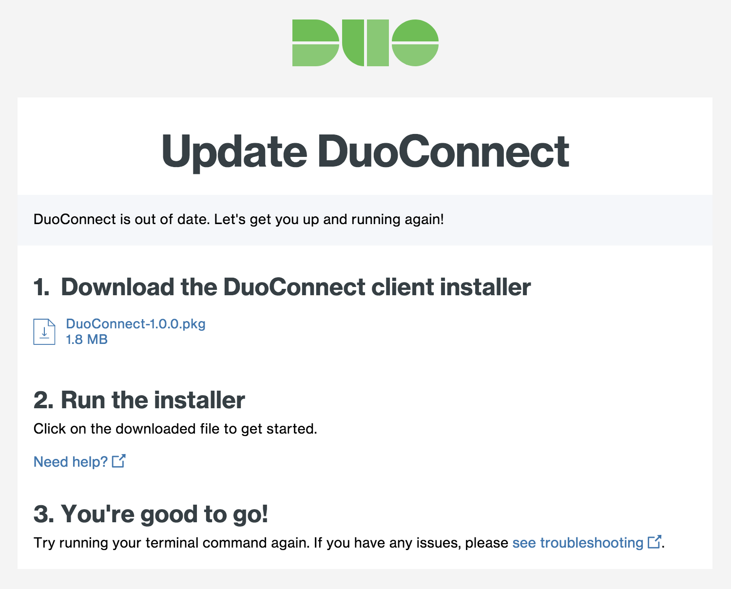 DuoConnect Update Page