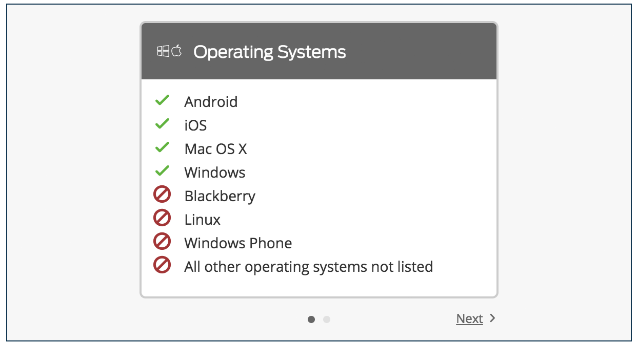 Permitted OS Platforms List