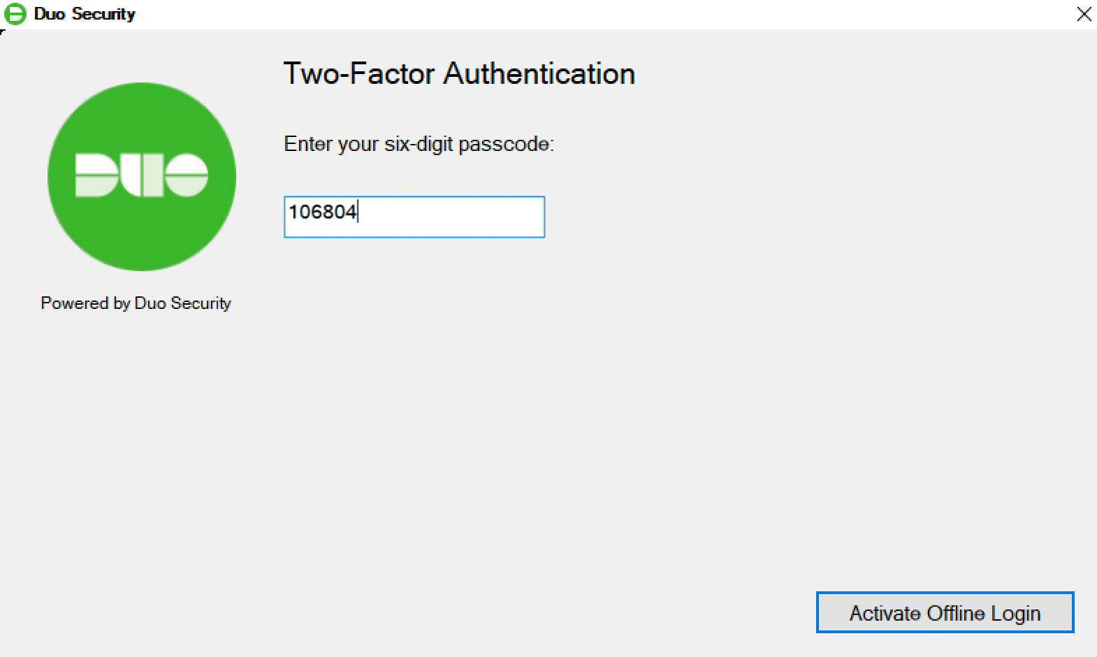 Duo Offline Access Activation - Finish