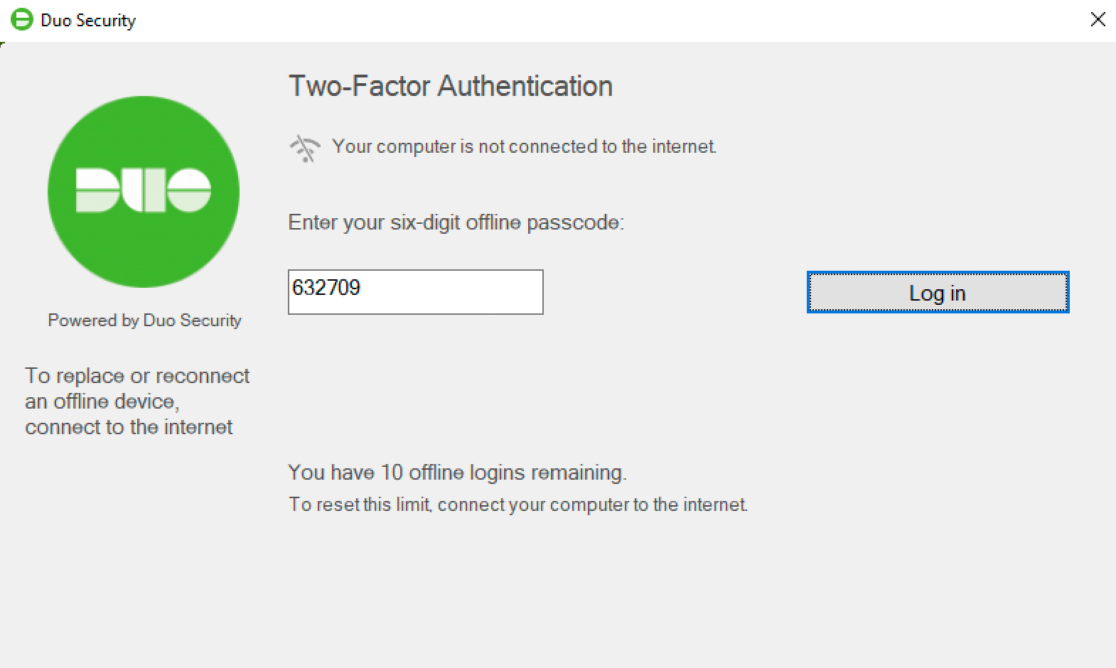 Duo Offline Authentication with Duo Mobile Passcode
