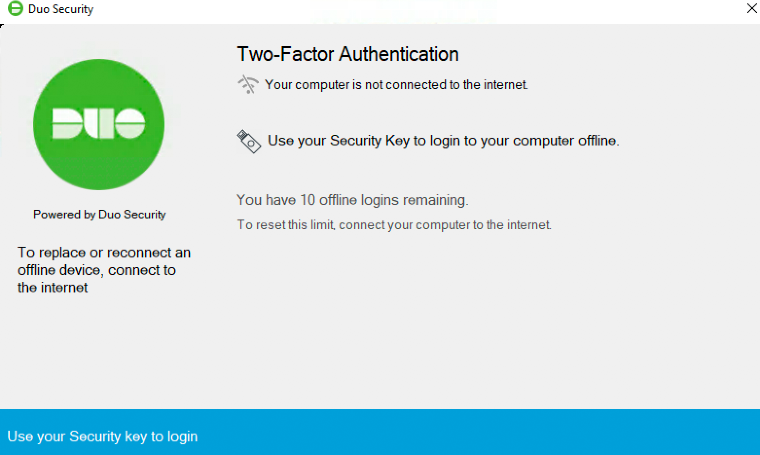 Duo Offline Authentication with Security Key