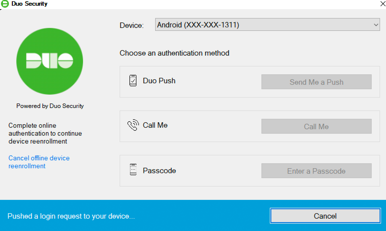 Duo Offline Access Reactivation - Authenticate