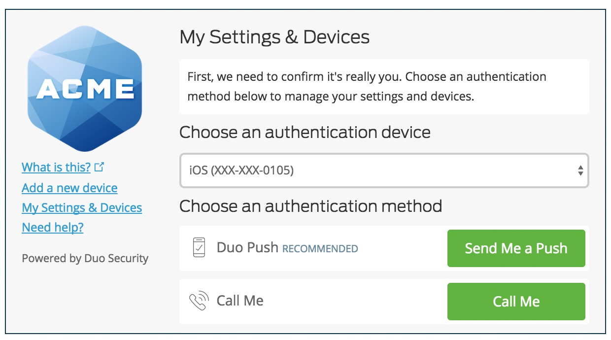 Authenticate to My Settings & Devices