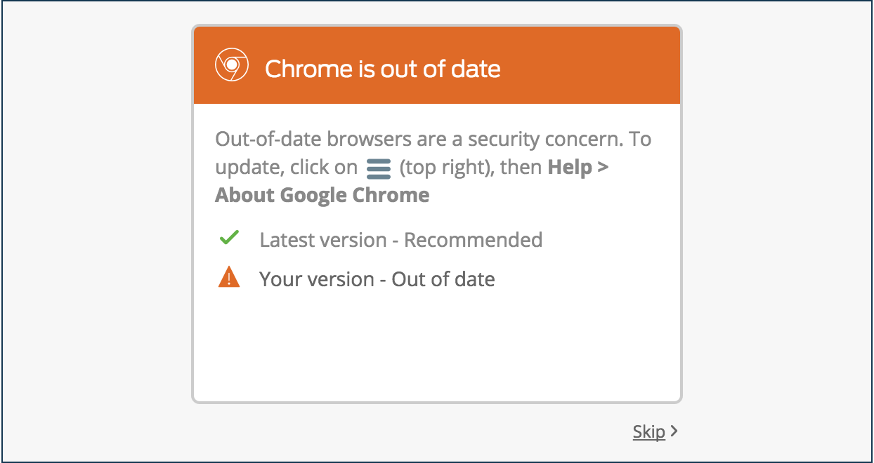 Outdated Chrome Browser Software Notification