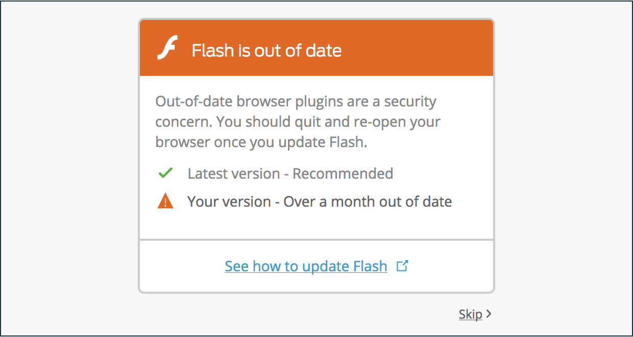 Outdated Flash Software Notification