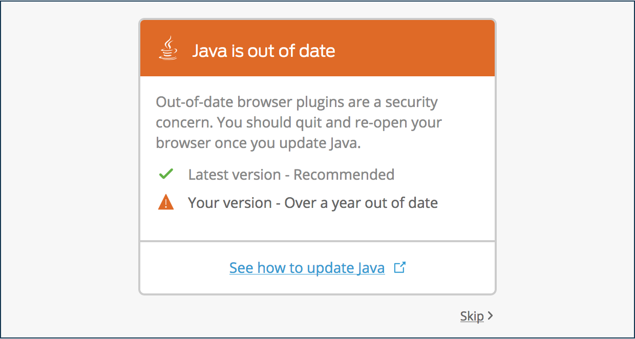 Outdated Java Plugin Software Notification